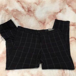 H &M Skinny Fit Cropped Casual Slacks blk plaidNWT